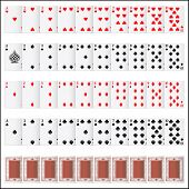 illustration of complete set of playing card on isolated background