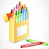 illustration of pack full of colorful crayon color