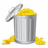 illustration of dustbin full of gold coin