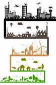 illustration of different stages of development showing sustainability of earth