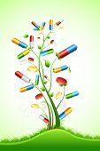 illustration of tree with medical pill on abstract background