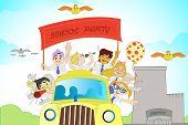 illustration of kids in school bus enjoying school party