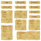 illustration of set of web template form made of antique paper