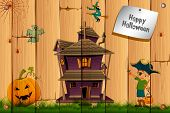 illustration of boy in pirate costume with pumpkin and haunted house on halloween card