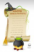illustration of witch hat and boling pot with halloween card