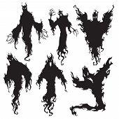 Evil Spirit Silhouette. Halloween Dark Night Devil, Nightmare Demon Or Ghost Silhouettes. Flying Met poster