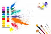 Colorful Paints And Brushes With Multi-colored Spray Splash Paint, Gouache, Watercolor Isolated On W poster