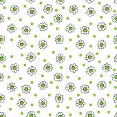 Simple Seamless Vector Background Chamomile Drawing, Green Flowers Simple, Easy Simple Drawing Backg poster