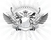stock photo of valkyrie  - Valkyries Blows The Horns Shield Insignia - JPG