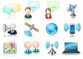 Communication theme icon set
