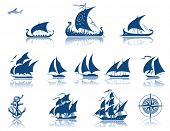 stock photo of compass rose  - Sailing Ships of the past  iconset - JPG