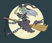 halloween witch flying in front of full moon with cat dangling form her broom