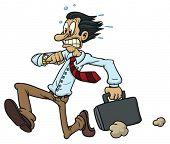 Cartoon Mitarbeiter mit Aktenkoffer.