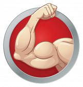 foto of muscle builder  - Cartoon strong arm - JPG