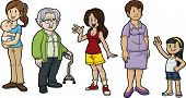 Cartoon women of all ages. All characters on separate layers for easy editing.