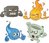 Cartoon characters depicting the four elements. Vector illustration with simple gradients. All eleme
