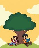 Kids reading books under a tree. All elements on separate layers for easy editing.