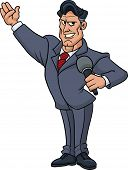 Cartoon television host holding a microphone and smiling. Vector illustration with no gradients. All