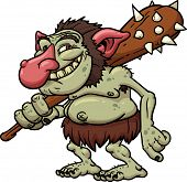 stock photo of troll  - Cartoon Troll holding a club - JPG