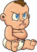 Cute cartoon baby pouting. All in a single layer.