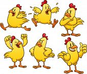 stock photo of chickens  - Cute cartoon yellow chicken - JPG