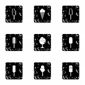 Cool Treat Icons Set. Grunge Illustration Of 9 Cool Treat Icons For Web poster