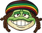Cartoon frog wearing a Rastafarian hat. Vector illustration with simple gradients. All in a single l