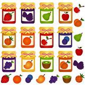 A colorful set of cute vector Icons : Bottles of home-made Jam (jelly), seamless background