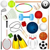 Colorful Vector Sports Set : Different kinds of Balls, exercise equipment