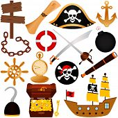stock photo of pirate flag  - A colorful vector Theme of Pirate - JPG