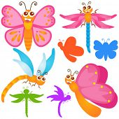 A colorful Theme of cute vector Icons : Butterfly, dragonfly