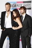 LOS ANGELES - NOV 20: Dave Haywood, Hillary Scott; Charles Kelley of Lady Antebellum at the 2011 American Music Awards Press Room at Nokia Theatre L.A. Live on November 20, 2011 in Los Angeles, CA