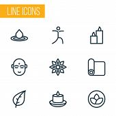 Spiritual Icons Line Style Set With Yoga Mat, Water Drop, Paraffin And Other Splash  Elements. Isola poster