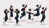 Isometrics Graduates Girls And Boys, Jump, Academic Robes, Hats, Rejoice, Diplomas, Graduates. Set O poster