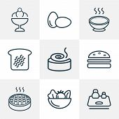 Nutrition Icons Line Style Set With Eggs, Soup, Toast Bread And Other Healthy Food Elements. Isolate poster