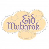 Eid greetings in casual, english script. Translated from arabic as 'Eid wishes'.