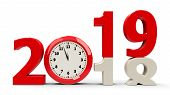 2018-2019 Change With Clock Dial Represents Coming New Year 2018, Three-dimensional Rendering, 3d Il poster