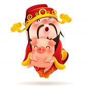 Chinese God Of Wealth And Little Pig. Chinese New Year. The Year Of The Pig. poster