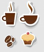 a set of stickers to advertise coffee