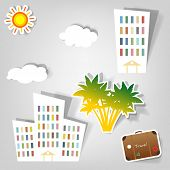 foto of assemblage  - collection of empty vector advertisement coupons - JPG