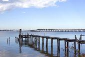 stock photo of katrina  - The remains of a fishing pier and boat ramp after Katrina - JPG