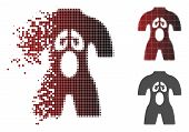 Anatomy Icon In Dissolved, Pixelated Halftone And Undamaged Whole Versions. Fragments Are Composed I poster
