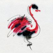 Exotic unusual bird. Calligraphy and watercolor on the textured paper.