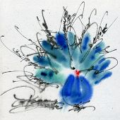 Unusual peacock. Calligraphy and watercolor on the textured paper.