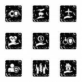 Assurance Icons Set. Grunge Illustration Of 9 Assurance Icons For Web poster