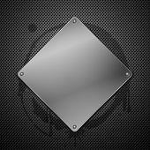 Placa metálica para la señalización. Ilustración de Vector