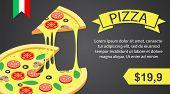 Pizza Banner Horizontal. Isometric Illustration Of Vector Pizza Banner Horizontal For Web Design poster