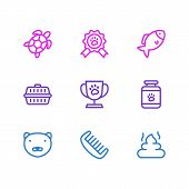 Illustration Of 9 Pet Icons Line Style. Editable Set Of Turtle, Pet Medicine, Pet Cup And Other Icon poster