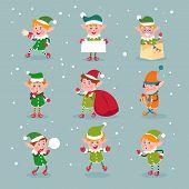 Elf. Cartoon Santa Claus Helpers, Dwarf Christmas Vector Fun Elves Characters Isolated. Elf And Help poster