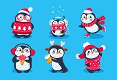 Christmas Penguin. Funny Snow Animals, Cute Baby Penguins Cartoon Characters In Winter Hat. Isolated poster